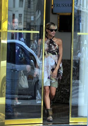 Michelle Hunziker Seen at Atelier Trussardi in Milan on June 27, 2013