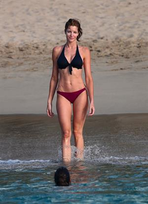 Stephanie Seymour bikini candids on the beach in St. Barts 12/31/12