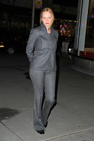Uma Thurman Arriving at Christie's Auction House in New York December 18, 2012