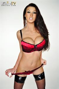 Alice Goodwin in red lingerie and stockings