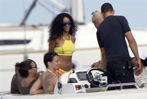 Rihanna enjoying a break on a yacht in Ponza
