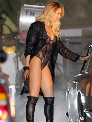 Candice Swanepoel on the set of a Victoria Secret's lingerie commercial in Los Angeles August 9, 2014