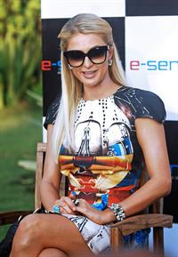 Paris Hilton attends a photocall during the 2012 Indian Resort Fashion Week held on Candolim Beach. December 1-20