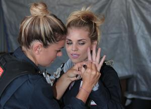 AnnaLynne McCord skydives from 18,000 feet at a charity event, Lompoc August 16, 2014