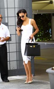 Naya Rivera arriving at a office building in Beverly Hills on August 13, 2014