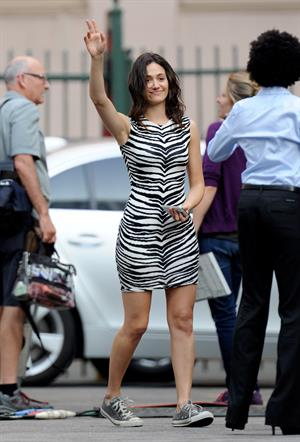 Emmy Rossum in Los Angeles on the set of Shameless on August 8, 2014