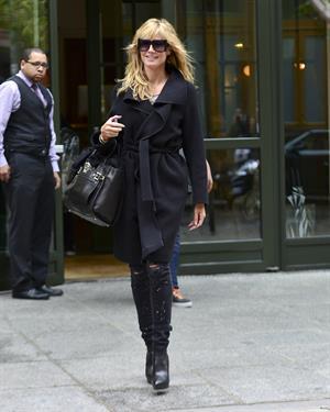 Heidi Klum leaves her hotel in New York City on November 1, 2013
