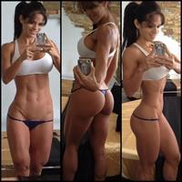 Michelle Lewin in a bikini taking a selfie