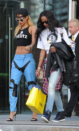 Rihanna arrives, an hour late, at her concert at the Manchester Arena on July 16, 2013
