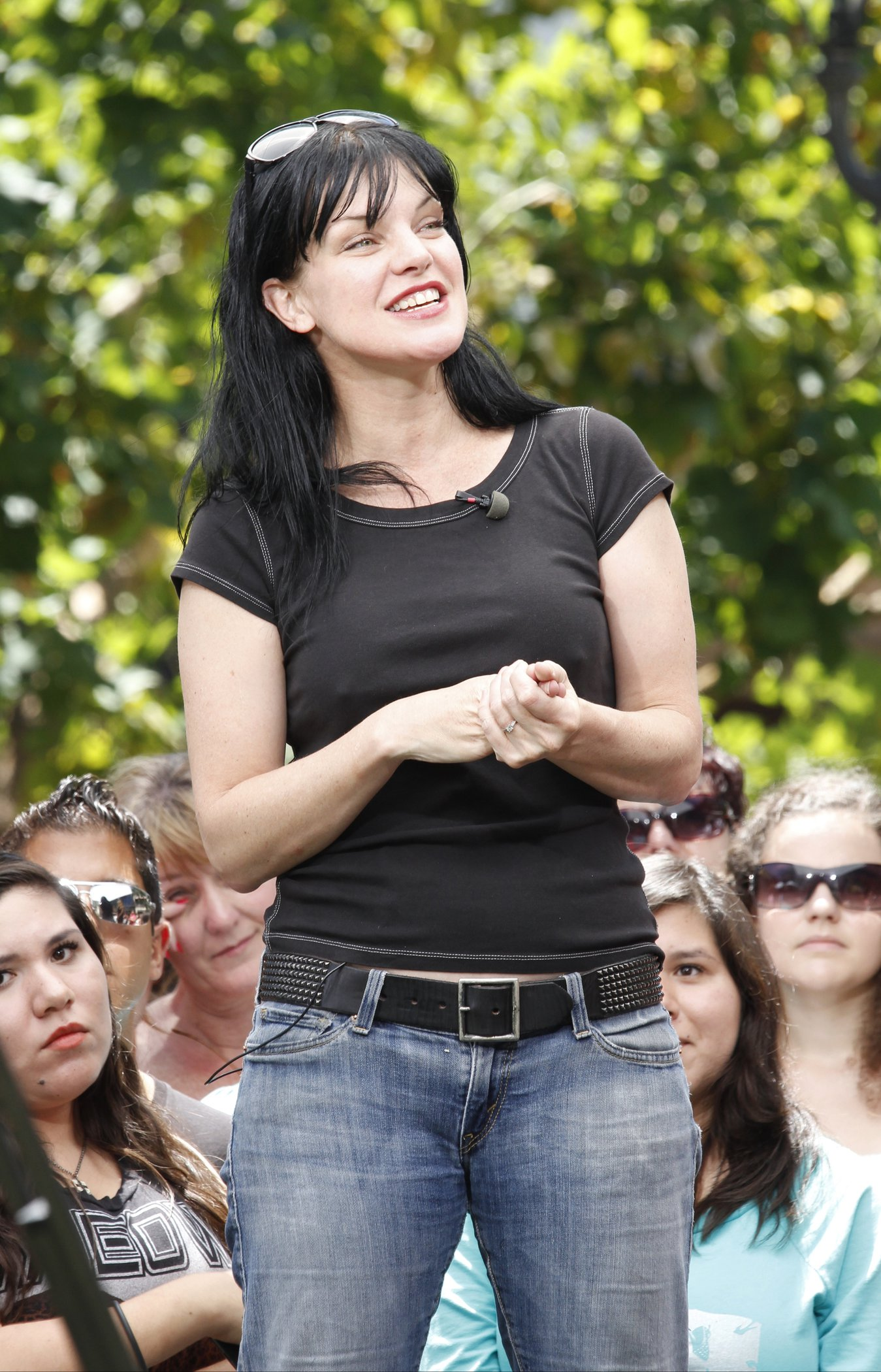Pauley Perrette on the set of Extra in LA 5/28/13