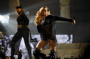 Rihanna performs live on stage at Pavilhão Atlântico in Lisbon on May 28, 2013