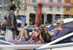 Uma Thurman wearing a bikini top on a yacht in St Tropez July 7, 2013