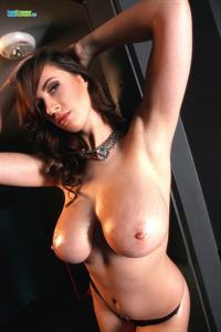 Natural busty Lana in black thong